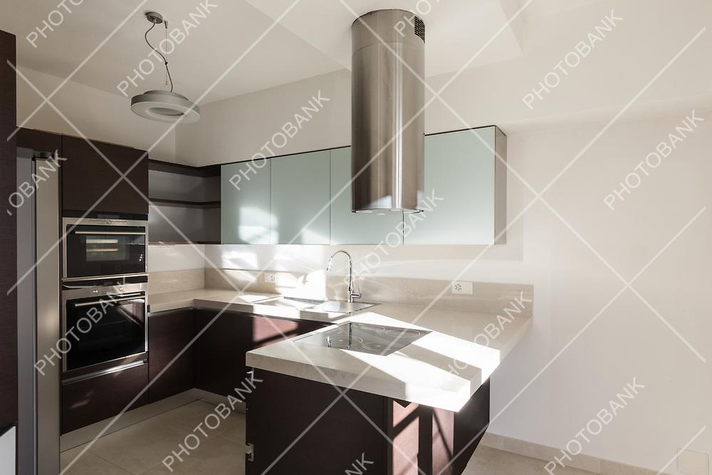 Empty modern kitchen, brown doors