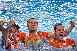 Coach Robin van Galen and assistant Arno Havenga after The Dutch water polo women win the gold medal by beating USA in the final on August 21, 2008 in Beijing