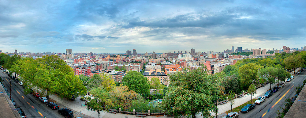 Morningside Heights, New York City.  View from Columbia University looking towards Harlem.  Image captured 2011.<br /> Print Size (in inches): 15x5; 24x8.5; 36x13; 48x17; 60x21.5; 72x26