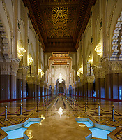 CASABLANCA, MOROCCO - CIRCA APRIL 2018: Interior of the Mosque Hassan II in Casablanca.