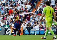 """Spanish  League""- match Real Madrid Vs FC Barcelona- season 2014-15 - Santiago Bernabeu Stadium -Neymar and Lionel Messi (FC Barcelona) Celebrates a goal during the Spanish League match against Real Madrid(Photo: Guillermo Martinez / Bohza Press / Alter Photos)"