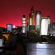 Model city of London at night with red background
