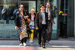 London, UK. 30th April 2019. Climate change activists from Extinction Rebellion (l-r) Farhana Yamin, Clare Farrell, Felix Ottaway O'Mahony and Rupert Read leave the Home Office after attending a meeting hosted by the Secretary of State Michael Gove. Credit: Mark Kerrison/Alamy Live News