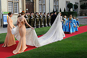 Religious wedding of Grand Duke Guillaume and Princess Stephanie at the Cathedral Notre-Dame in Luxembourg <br /> <br /> On the photo:  Princess Stephanie with her brother Jehan de Lannoy