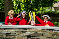 Pictured: Saim Sarwar (8), Beda Johnson (7), Harris Binnie (8) and Naeema Ahmd Aran (8) were having fun with the crazy hats.<br /> Pupils from Royal Mile Primary tried  on crazy hats made by a performer from company Mischief Labas, which is holding a hat-making workshop at the Imaginate opening weekend on May 28-29<br /> <br /> <br /> <br /> Ger Harley | EEm 26 May 2016