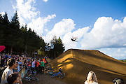 The crowd watch a competitor during the Slopestyle event at the inaugural Crankworx Rotorua event held at Skyline Rotorua, Rotorua, New Zealand, March 25-29, 2015.