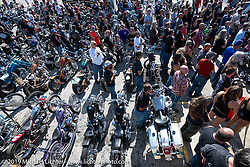 Pledge of allegiance at the Chopper Time annual old school chopper show at Willie's Tropical Tattoo in Ormond Beach during Daytona Beach Bike Week, FL. USA. Thursday, March 14, 2019. Photography ©2019 Michael Lichter.