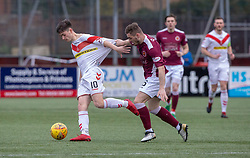 Airdrie's Declan Glass and Stenhousemuir's Mark Ferry. Stenhousemuir 1 v 0 Airdrie, Scottish Football League Division One played 26/1/2019 at Ochilview Park.