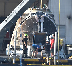 July 4,2017. San Pedro CA.  SpaceXÃ•s Dragon spaceship made space history today as being the first capsule used twice in two different missions that has never been done before. SpaceX carrying more than 4,100 pounds of cargo and research specimens, descended to a predawn splashdown Monday in the Pacific Ocean southwest of Los Angeles, completing the first re-flight of one of SpaceXÃ•s unpiloted supply ships to the International Space Station. Photo by Gene Blevins/LA DailyNews/SCNG/ZumPress (Credit Image: © Gene Blevins via ZUMA Wire)