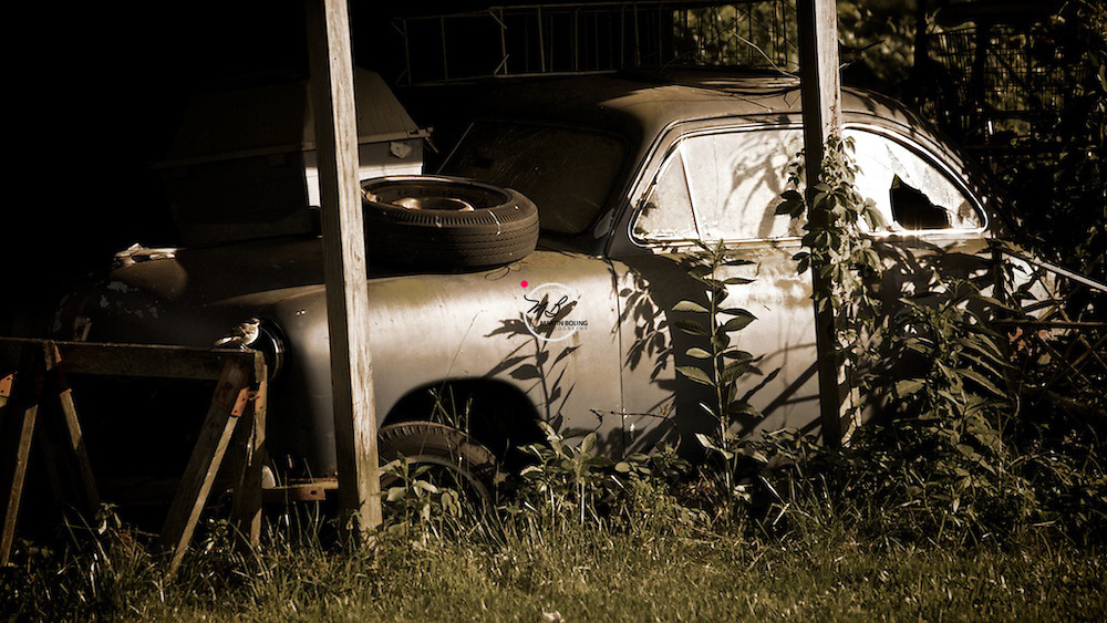 Old broken down foreign car