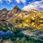 Painted Lady reflects in Rae Lakes, King's Canyon National Park, CA.