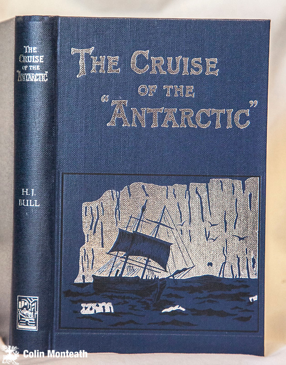 THE CRUISE OF THE ANTARCTIC, Henrik Bull, The Paradigm Press Bluntisham Books, 1984. 243 page VG+ hardcover. bright silver decorative boards, B&W plates, Heine library bookplate, fep., An attractive reprint which retains much of the character of the original scarce first edition. Bull was a Norwegian businessman who had emigrated to Australia in 1885. He was convinced the whales reportedly found in the Ross Sea by Ross could be taken for profit and returned to Norway convincing Svend Foyn, a whaling magnate, to finance an expedition. The expedition left Melbourne for Antarctica on 28 September 1894, crossing the Antarctic Circle on 25 December, they entered the Ross Sea and landed on Possession Island on 19 January. Borchgrevink was on board as a scientist and discovered lichen on the island which was the first vegetation found south of the Antarctic Circle. The expedition later landed at Cape Adare on 24 January and is considered to be the first documented landing on the Antarctic continent. Borchgrevink claimed to be the first ashore but a similar claim was also made by Captain Kristensen and A. H. F. Tunzleman, a young New Zealander. The expedition returned to Melbourne in March 1895 a commercial failure although Borchgrevink used it to launch his Antarctic exploits. (from Glacier books, Pitlochry) - $NZ140 (Arnold Heine Collection)