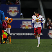 Tim Cahill, New York Red Bulls, is sent off for a reckless challenge on Boniek García, Houston Dynamo, during the New York Red Bulls Vs Houston Dynamo, Major League Soccer regular season match at Red Bull Arena, Harrison, New Jersey. USA. 4th October 2014. Photo Tim Clayton
