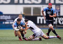 Lloyd Williams of Cardiff Blues is tackled by Murray Douglas of Edinburgh Rugby<br /> <br /> Photographer Simon King/Replay Images<br /> <br /> Guinness PRO14 Round 2 - Cardiff Blues v Edinburgh - Saturday 5th October 2019 -Cardiff Arms Park - Cardiff<br /> <br /> World Copyright © Replay Images . All rights reserved. info@replayimages.co.uk - http://replayimages.co.uk