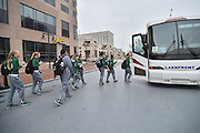 April 4, 2016; Indianapolis, Ind.; The UAA women's basketball team gets onto their team bus before their game against Lubbock Christian in the NCAA Division II Women's Basketball National Championship game at Bankers Life Fieldhouse.