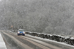 © Licensed to London News Pictures. 29/01/2019. Snowdonia, Conwy, Wales, UK. Heavy snow on the A5 road between Capel Curig and Betws-y-Coed, Snowdonia National Park, Conwy, Wales, UK. credit: Graham M. Lawrence/LNP
