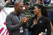 United States Army major general Ronald Clark (Ronald P. Clark (left) talks with daughter Megan Clark during the National Pole Vault Summit, Friday, Jan. 17, 2020, in Reno, Nev.