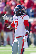 Oct 27, 2012; Little Rock, AR, USA; Ole Miss Rebels defensive back Trae Elston (7) stands on the field during a game against the Arkansas Razorbacks at War Memorial Stadium. Ole Miss defeated Arkansas 30-27. Mandatory Credit: Beth Hall-US PRESSWIRE