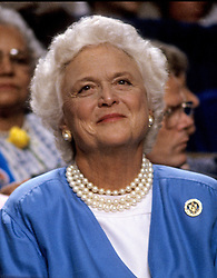 April 17, 2018 - (File Photo) - Former first lady Barbara Bush, wife of former President George H.W. Bush and mother of former President George W. Bush, died Tuesday at her home in Houston. She was 92. Barbara Bush had been in failing health, suffering from congestive heart failure and chronic obstructive pulmonary disease. George and Barbara, who celebrated their 73rd wedding anniversary on Jan. 6, hold the record for the longest-married presidential pair. Mrs. Bush was known for her wit and emphasis on family. One of her primary causes was literacy. She founded the Barbara Bush Foundation for Family Literacy in 1989 to carry forth her legacyin the cause for literacy. PICTURED: Aug. 16, 1988 - New Orleans, Louisiana, U.S. - BARBARA BUSH, wife of United States Vice President George H.W. Bush, watches the proceedings of the 1988 Republican National Convention at the Super Dome. (Credit Image: © Howard L. Sachs/CNP/ZUMAPRESS.com)