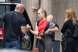 EXCLUSIVE: Pink is on set of her music video in Los Angeles for the song, 'Revenge.' The singer was seen with her signature hair style and a jacket which read the word 'slut' on the back of it. Her baby boy, Jameson was seen on set with her. ***SPECIAL INSTRUCTIONS*** Please pixelate children's faces before publication.***. 19 Sep 2017 Pictured: Jameson Moon Hart. Photo credit: MEGA TheMegaAgency.com +1 888 505 6342