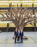 Sir Nicholas Serota, Lord Browne, Frances Morris,  in the Turbine Hall with Ai Weiwei?s 7-metre high sculpture of a treehe new Tate Modern will open to the public on Friday 17 June. The new Switch House building is designed by architects Herzog & de Meuron, who also designed the original conversion of the Bankside Power Station in 2000.  - The new Tate Modern will open to the public on Friday 17 June. The new Switch House building is designed by architects Herzog & de Meuron, who also designed the original conversion of the Bankside Power Station in 2000.