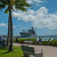 Tourists visit the Pearl Harbor Memorial in Honolulu, Oahu, Hawaii.