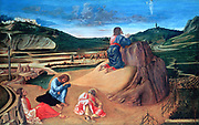 The Agony in the Garden', c1465. Tempera on wood. Giovanni Bellini (1426-1516) Italian Renaissance painter. Christ praying in the Garden of Gethsemane while Saints Peter, John and James the Greater sleep. Passion Jesus
