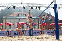 Erika Fabjan vs Nina Lovsin at Beach Volleyball Challenge Ljubljana 2014, on August 1, 2014 in Kongresni trg, Ljubljana, Slovenia. Photo by Matic Klansek Velej / Sportida.com