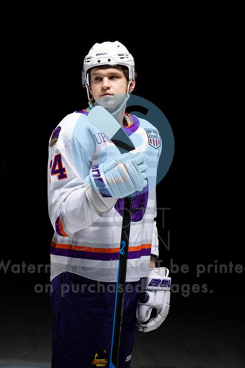 Youngstown Phantoms player photo shoot on April 14, 2021. <br /> <br /> Sergei Kuznetsov, forward, 14