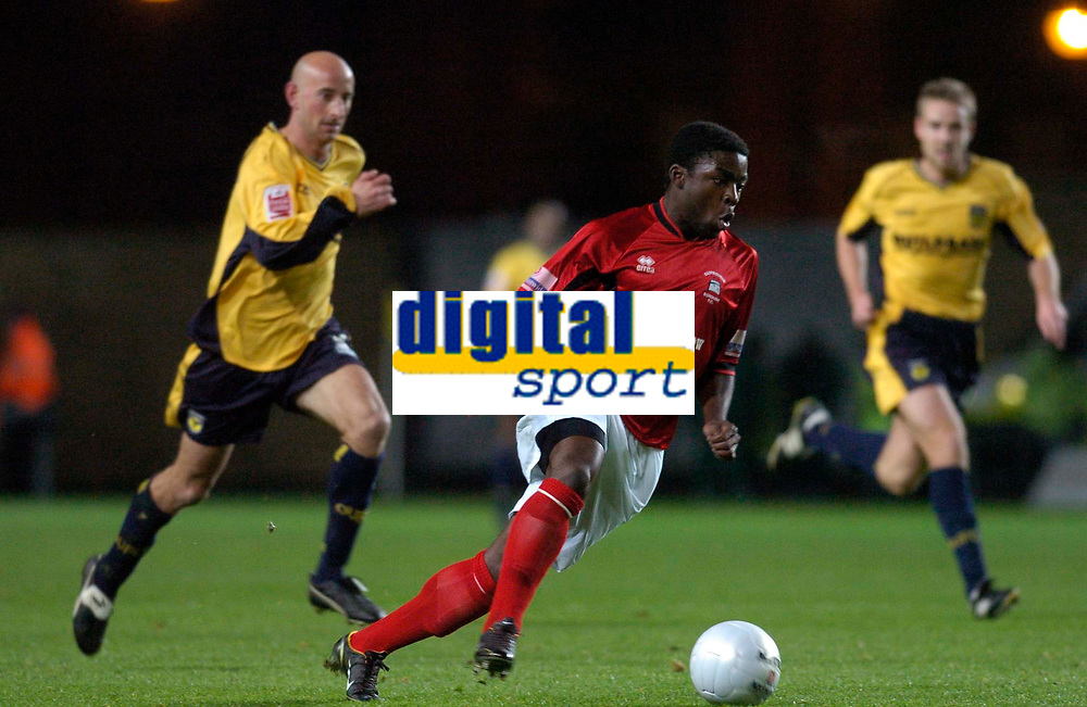 Photo: Alan Crowhurst.<br />Oxford United v Eastbourne Borough. The FA Cup.<br />16/11/2005. Eastbourne's Yemi Odubade on the attack.