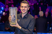The 19.com World Snooker Scottish Open Champion 2019 Mark Selby holds the Stephen Hendry Trophy following his win at the World Snooker 19.com Scottish Open Final Mark Selby vs Jack Lisowski at the Emirates Arena, Glasgow, Scotland on 15 December 2019.