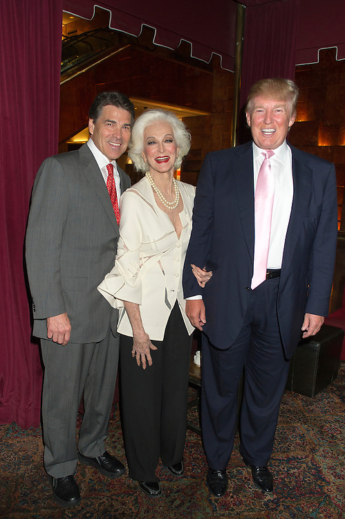 Donald Trump with former Texas Governor Rick Perry, and fashion icon Carmen Dell'Orefice at Trump Tower in New York City