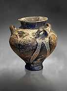 Small Mycenaean amphora decorated with large ivy leaves, Grave VI, Grave Circle A, Mycenae 16-15 Cent BC. National Archaeological Museum Athens. Cat No 192,  Grey art Background .<br /> <br /> If you prefer to buy from our ALAMY PHOTO LIBRARY  Collection visit : https://www.alamy.com/portfolio/paul-williams-funkystock/mycenaean-art-artefacts.html . Type -   Athens    - into the LOWER SEARCH WITHIN GALLERY box. Refine search by adding background colour, place, museum etc<br /> <br /> Visit our MYCENAEN ART PHOTO COLLECTIONS for more photos to download  as wall art prints https://funkystock.photoshelter.com/gallery-collection/Pictures-Images-of-Ancient-Mycenaean-Art-Artefacts-Archaeology-Sites/C0000xRC5WLQcbhQ