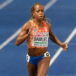 Jamile Samuel op weg naar het brons op[ de 200m bij het EK atletiek in Berlijn op 11-8-2018