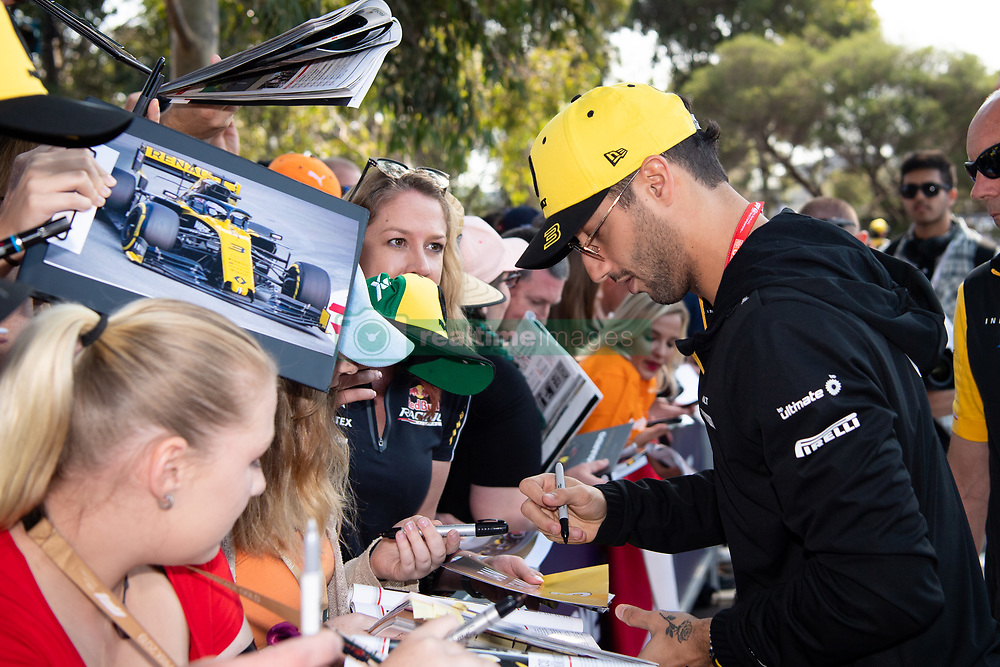 March 16, 2019 - Albert Park, VIC, U.S. - ALBERT PARK, VIC - MARCH 16: Renault F1 Team driver Daniel Ricciardo arrives at The Australian Formula One Grand Prix on March 16, 2019, at The Melbourne Grand Prix Circuit in Albert Park, Australia. (Photo by Speed Media/Icon Sportswire) (Credit Image: © Steven Markham/Icon SMI via ZUMA Press)
