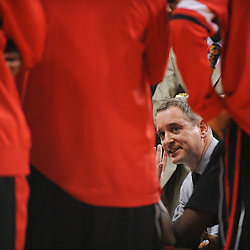 Rutgers Scarlet Knights head coach Mike Rice talks to his team in a time-out huddle during second half Big East NCAA Basketball between the Rutgers Scarlet Knights and Seton Hall Pirates at the Louis Brown Athletic Center. Seton Hall defeated Rutgers 59-55.