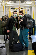 UNITED KINGDOM, London: 17 March 2020 <br /> Roman Hadley 23 (left) and Abby Huggett 23 (right) return from Heathrow Airport after their second attempt to get to Australia fell through so are returning to their home here in London as the threat and worry of the coronavirus continues to rise in The United Kingdom.