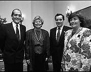 Tanaiste Hosts Dinner For Mayor Daley Of Chicago..T7..1989..22.09.1989..09.22.1989..22nd September 1989..On his visit to Ireland, Mayor Richard M Daley, Chicago, USA was geust of honour at a diner hosted by An Tanaiste Brian Lenihan TD. The function took place at Iveagh House,Dept of Foreign Affairs...The ladies and gentlemen pose for pictures prior to going into dinner in Iveagh House.
