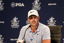 August 11, 2018 - St. Louis, Missouri, United States - Brooks Koepka speaks to the media after the third round of the 100th PGA Championship at Bellerive Country Club. (Credit Image: © Debby Wong via ZUMA Wire)