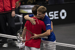 September 21, 2018 - Chicago, Illinois, U.S - DAVID GOFFIN of Belgium hugs DIEGO SCHWARTZMAN of Argentina after winning the third singles match on Day One of the Laver Cup at the United Center in Chicago, Illinois. (Credit Image: © Shelley Lipton/ZUMA Wire)