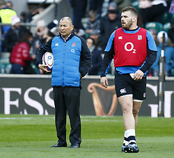 February 10, 2019 - London, England, United Kingdom - England's Coach Eddie Jones during warm up during the Guiness 6 Nations Rugby match between England and France at Twickenham  Stadium on February 10th, 2019 in Twickenham, London,  England. (Credit Image: © Action Foto Sport/NurPhoto via ZUMA Press)