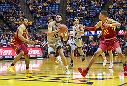Mar 6, 2019; Morgantown, WV, USA; West Virginia Mountaineers guard Jermaine Haley (10) drives down the lane during the second half against the Iowa State Cyclones at WVU Coliseum. Mandatory Credit: Ben Queen-USA TODAY Sports