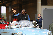 Usain Bolt of Jamaica before the Sainsbury's Anniversary Games at the Queen Elizabeth II Olympic Park, London, United Kingdom on 24 July 2015. Photo by Phil Duncan.