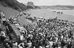 SDP leader Dr David Owen defies a bomb scare to issue a rallying call to his party from the seafront at Scarborough.