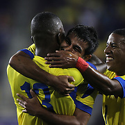 Enner Valencia, (left), Ecuador, is congratulated by teammate Junior Sornoza, and Joao Plata, (right), after scoring during the Ecuador Vs El Salvador friendly international football match at Red Bull Arena, Harrison, New Jersey. USA. 14th October 2014. Photo Tim Clayton