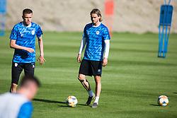 Josip Ilicic and Rene Krhin of Slovenia national football team during practice session, on June 3, 2019 in Kranjska Gora, Slovenia. Photo by Peter Podobnik/ Sportida