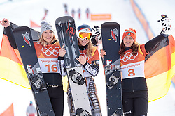 24.02.2018, Phoenix Snow Park, Bokwang, KOR, PyeongChang 2018, Snowboard, Damen, Siegerpräsentation, Parallel Riesenslalom, im Bild v.l. Selina Joerg (GER, 3. Platz), Ester Ledecka (CZE, 1. Platz), Ramona Theresia Hofmeister (GER, 2. Platz) // v.l. bronce medalist Selina Joerg of Germany gold medalist and Olympic champion Ester Ledecka of Czech Republic silver medalist Ramona Theresia Hofmeister of Germany during the winner presentation for the ladie's Snowboard Parallel Riesenslalom of the Pyeongchang 2018 Winter Olympic Games at the Phoenix Snow Park in Bokwang, South Korea on 2018/02/24. EXPA Pictures © 2018, PhotoCredit: EXPA/ Johann Groder