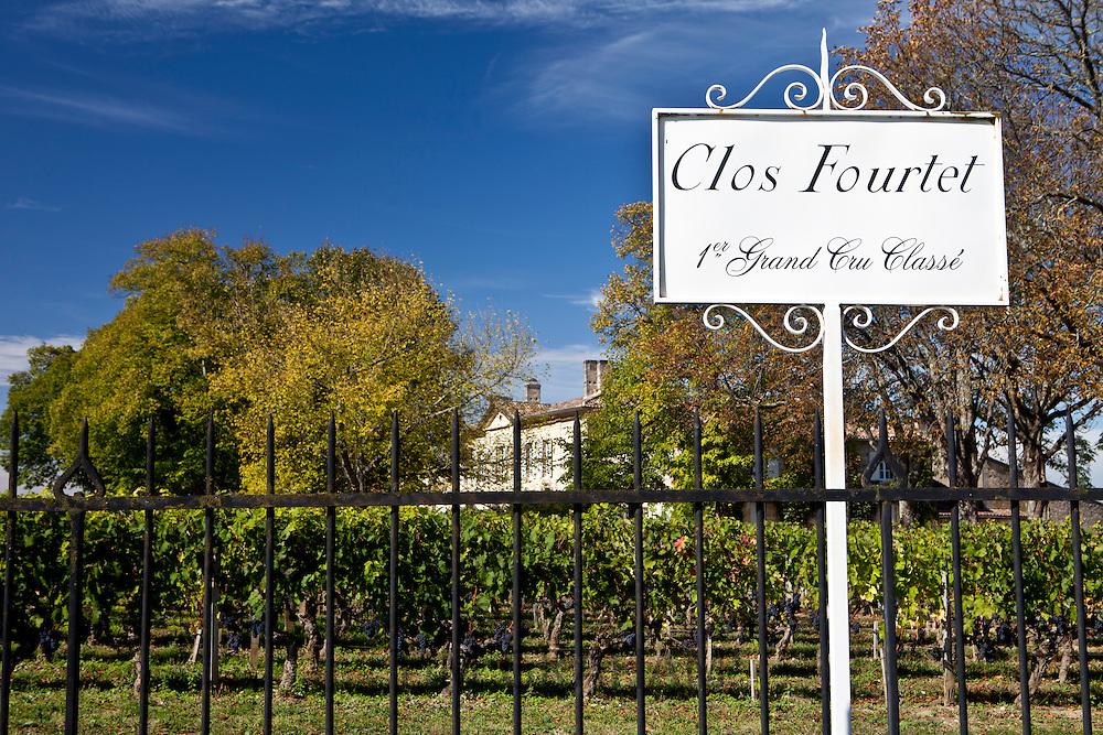 Vineyards at Chateau Clos Fourtet, St Emilion in the Bordeaux wine region of France