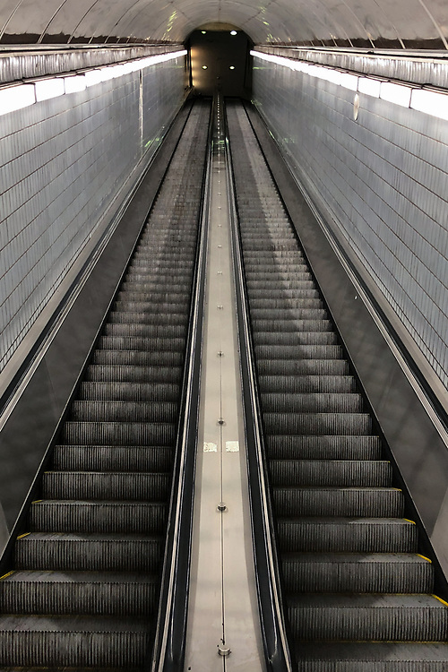 An intriguing view up the escalator from the MARTA station to the Peachtree Center in Atlanta, Georgia.