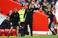 Zeljko Buvac, the Liverpool First Assistant Coach © shouts instructions from the touchline. Premier League match, Liverpool v Burnley at the Anfield stadium in Liverpool, Merseyside on Saturday 16th September 2017.<br /> pic by Chris Stading, Andrew Orchard sports photography.